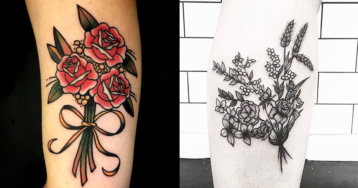 15 Evergreen Flower Bouquet Tattoos
