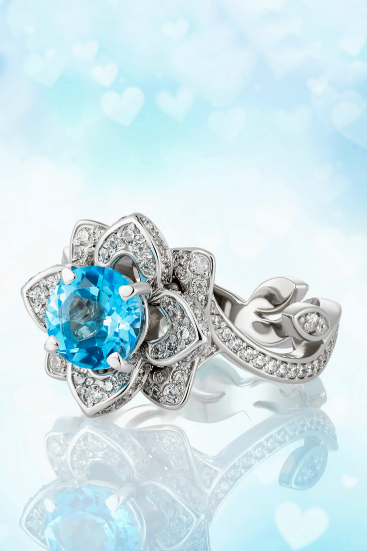 Blue Topaz Ring Flower Engagement Ring Lotus Ring Promise Ring