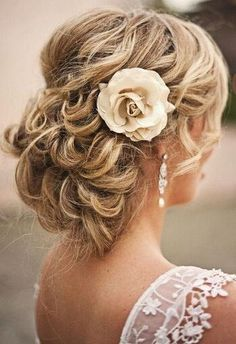 Cute idea with pulled up hair, and that flower just makes it perfect!
