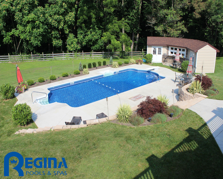 Backyard Paradise: Roman-shaped Vinyl Liner Swimming Pool Located In Glen Arm