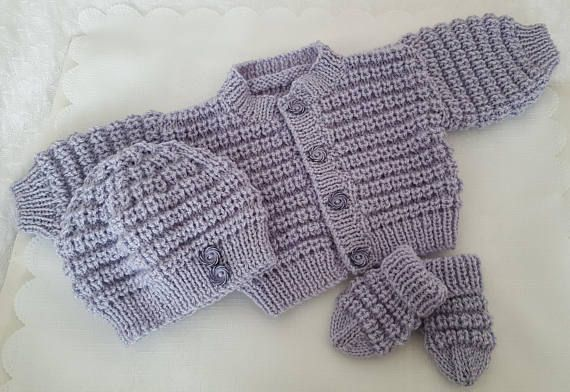 8ad616550d0 Knitted Baby Clothes - Baby Gift - Hand Knitted Baby Cardigan Hat ...