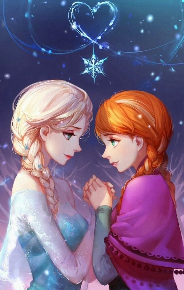 Elsa And Anna Holding Hand Each Other