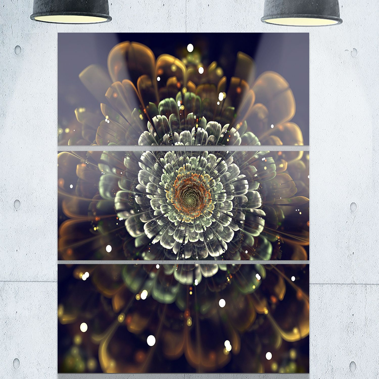 Perfect Fractal Flower in and Silver - Floral Glossy Metal Wall Art