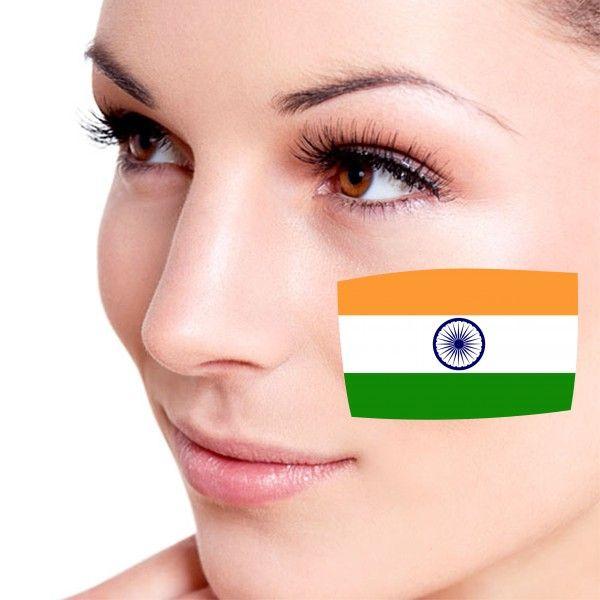 Look! My DIY : Flag of India facial tattoo , free shipping 2016   diythinker.com