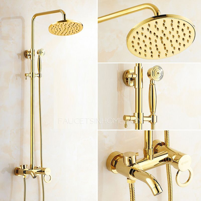Antique Gold Exposed Brass Wall Mount Shower Faucet | Bathroom ...