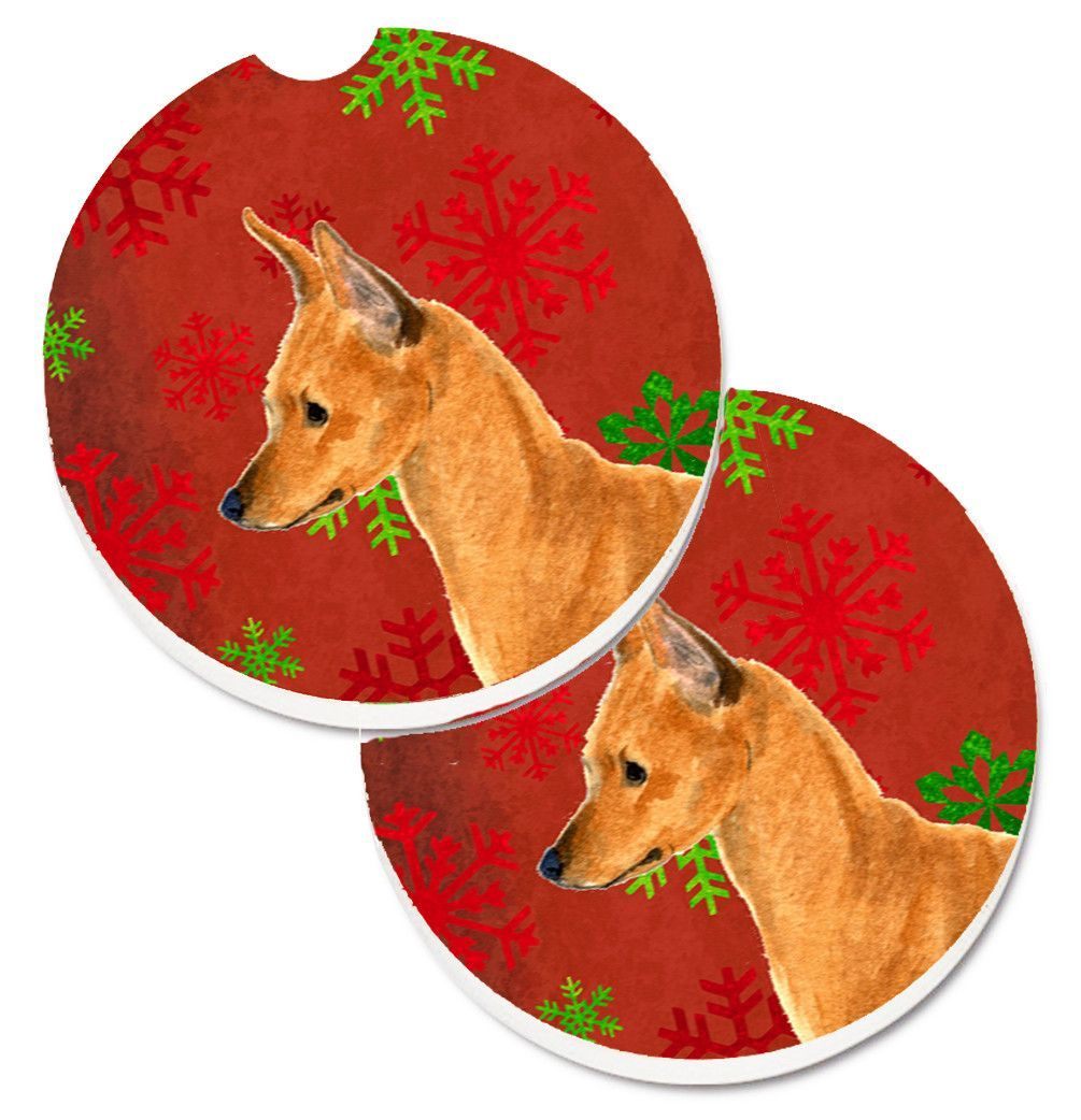 Min Pin Red and Green Snowflakes Holiday Christmas Set of 2 Cup Holder Car Coasters SS4673CARC