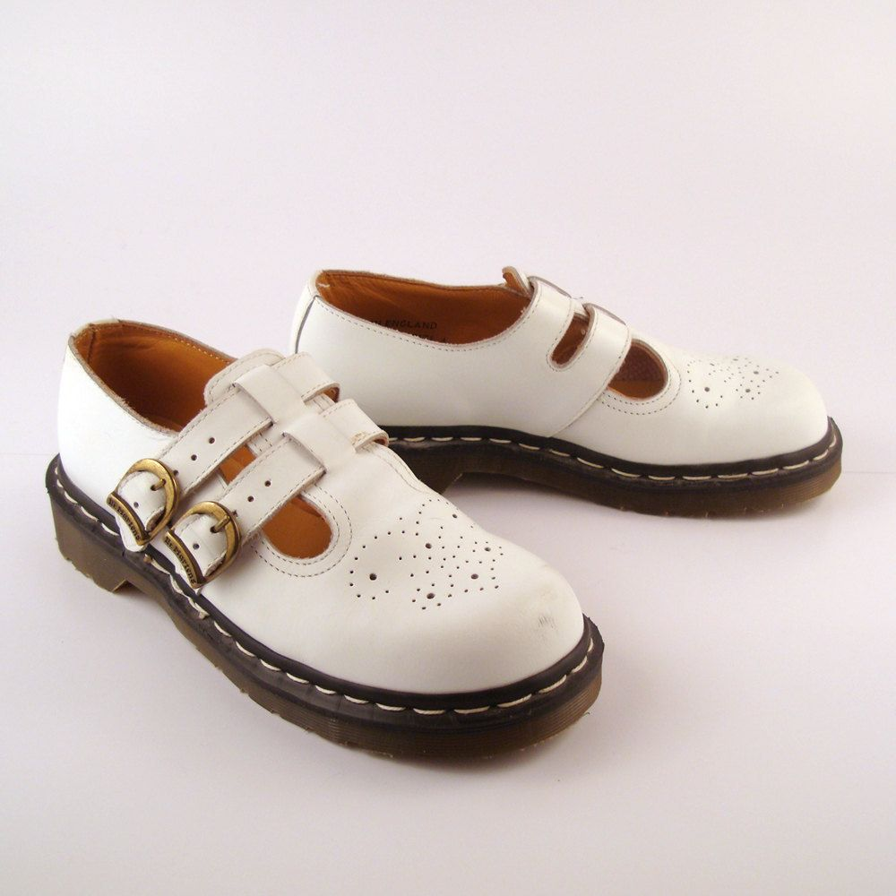 9ef517c7af92 Doc Martens Shoes Mary Janes 1991 Distressed White Leather Shoes T strap UK  size 4.  88.00