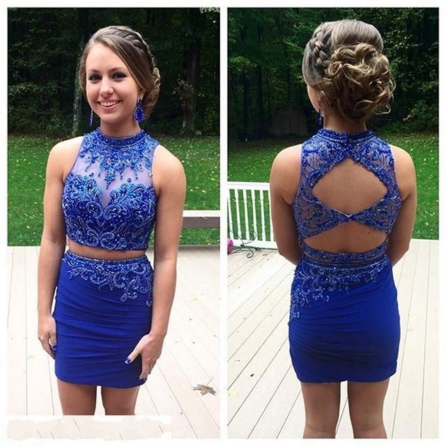 Royal Blue Tight Homecoming Dresses Two Piece Modest Prom Dresses