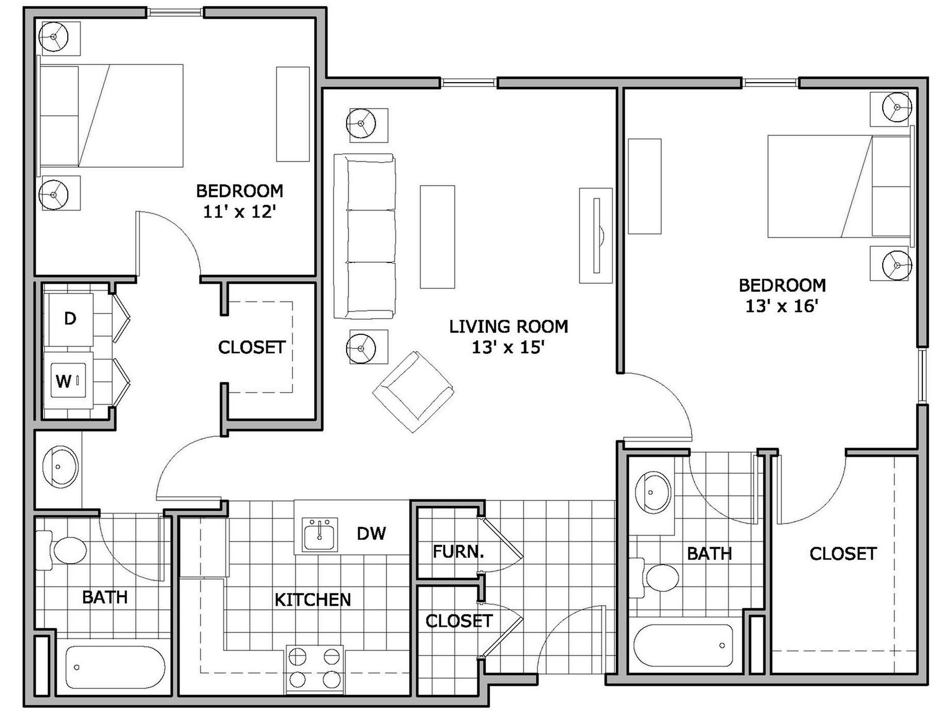 for the 2 Bedroom Phase 3 floor plan. 2 bedroom
