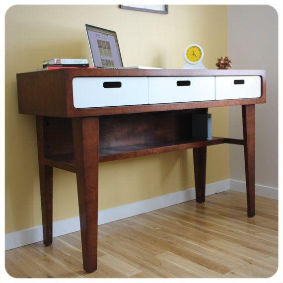 Modern Standing Desk Office Desk In Caramel Stain With White
