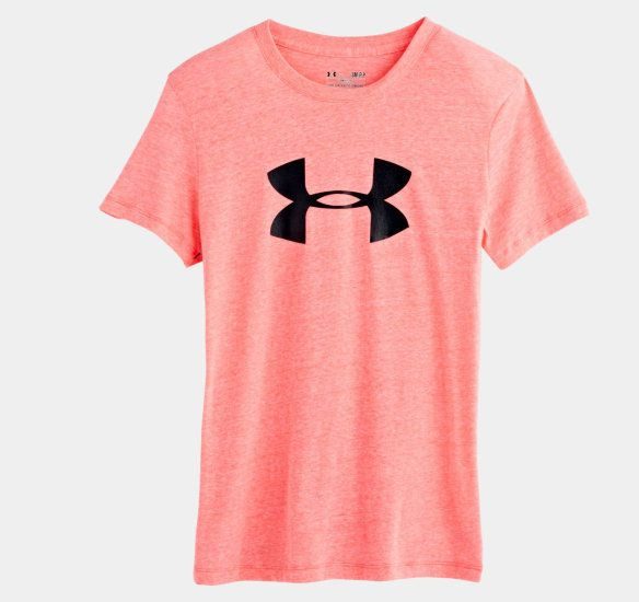 Women s Under Armour Charged Cotton Big Logo tee in brilliance pink ... 9c32d1df93