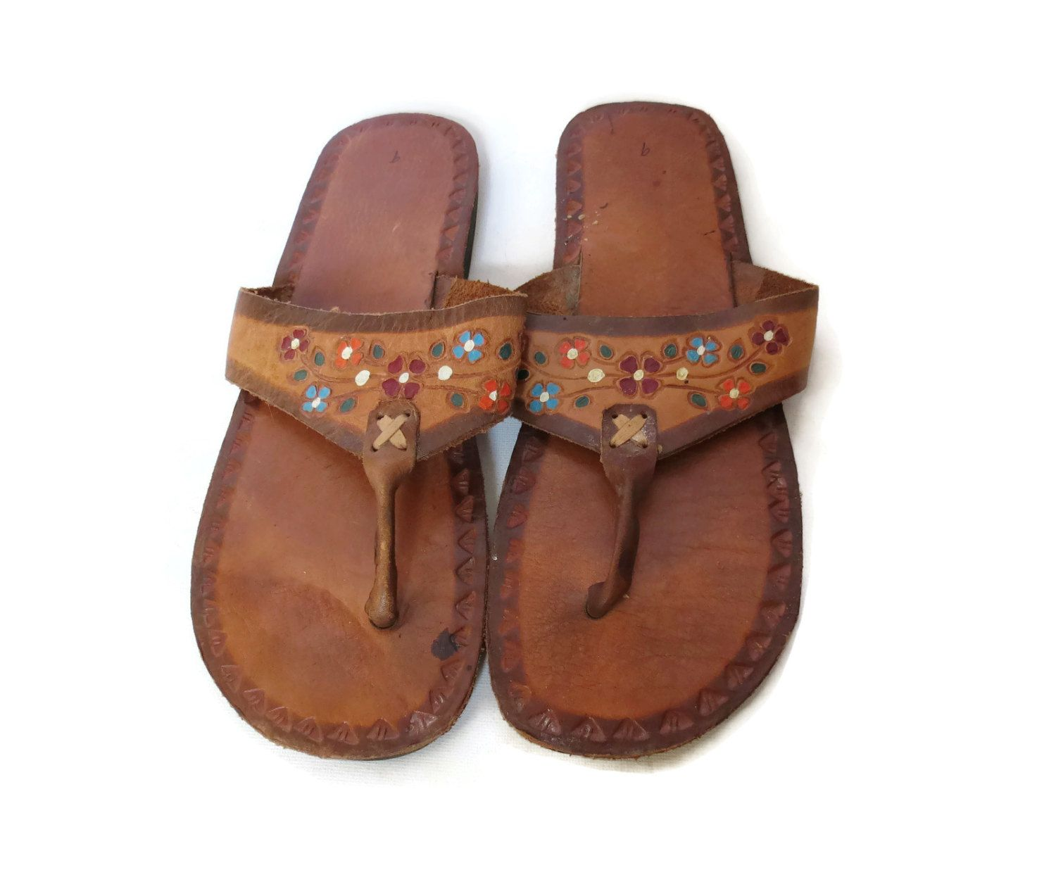 Womens sandals etsy - Mexican Leather Sandals Floral Leather Flip Flops Tooled Leather 70s Hippie Sandals Boho Sandal Size 12 13 14 Unisex Mens Womens