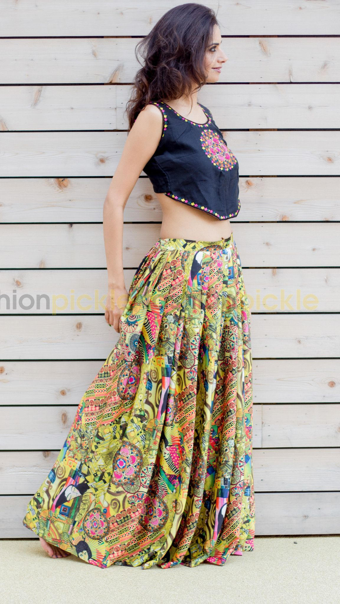 772b80f61b6183 Long Silk Pleated Skirt with Matching Crop Top