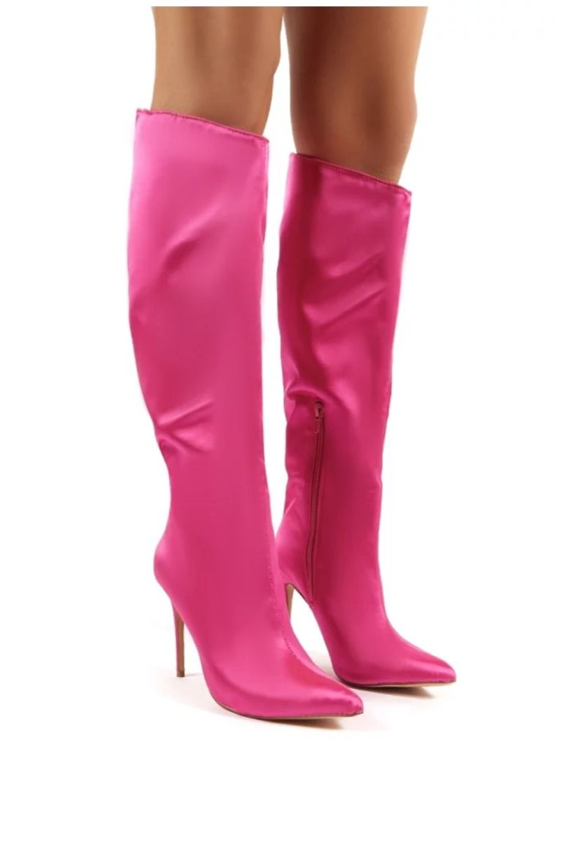 Hot Pink Satin Stiletto Heeled Knee High Boots Stiletto Heels Heels Knee High Boots