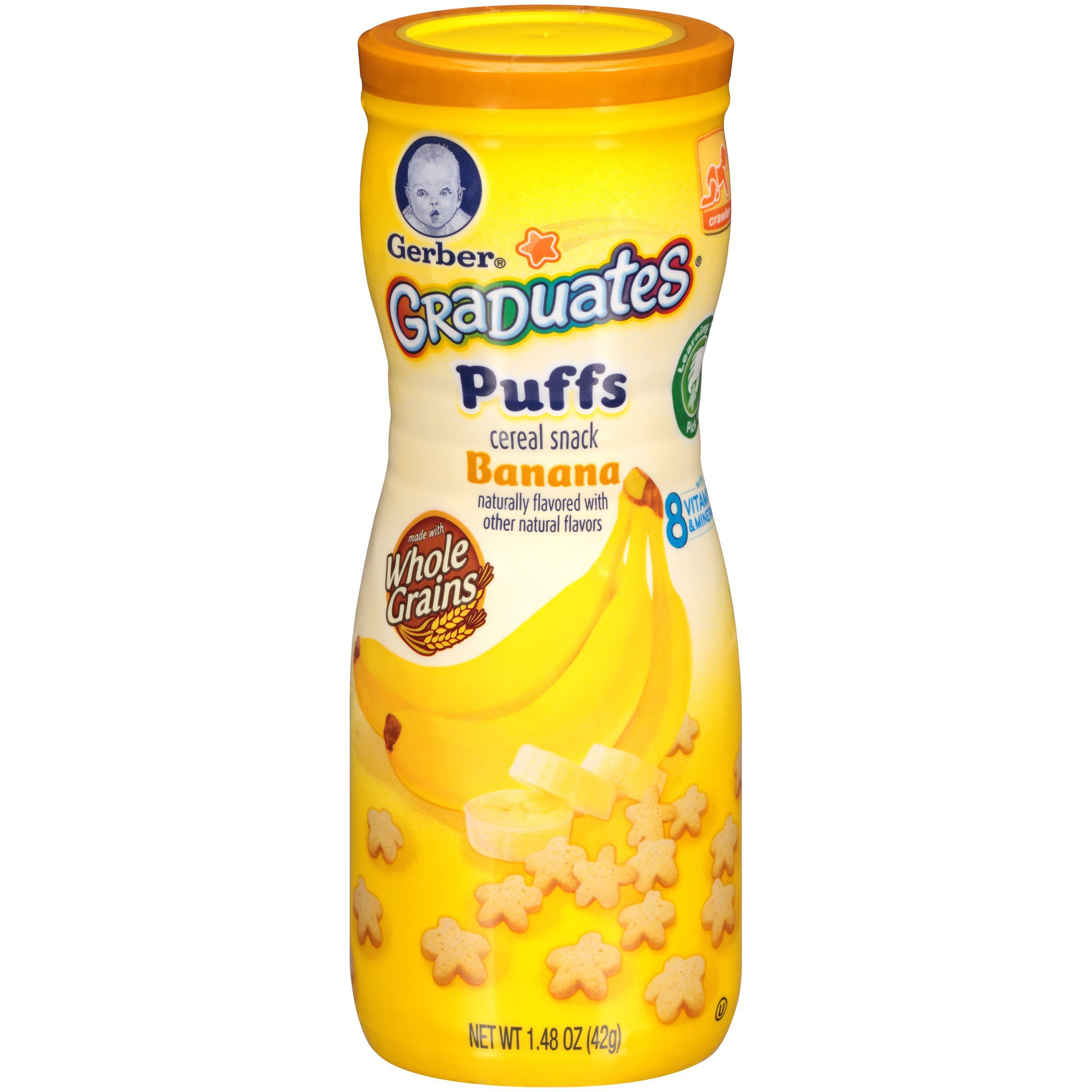 Gerber banana puffs cereal snack 148 oz canister puffs