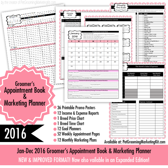 The New  Dog Grooming Appointment Book  Marketing Planner