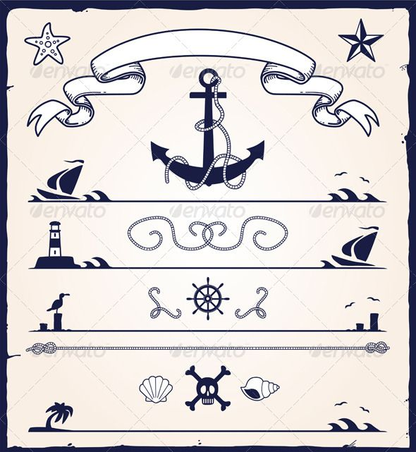 Key Elements Of Nautical Style: GraphicRiver Nautical Design Elements