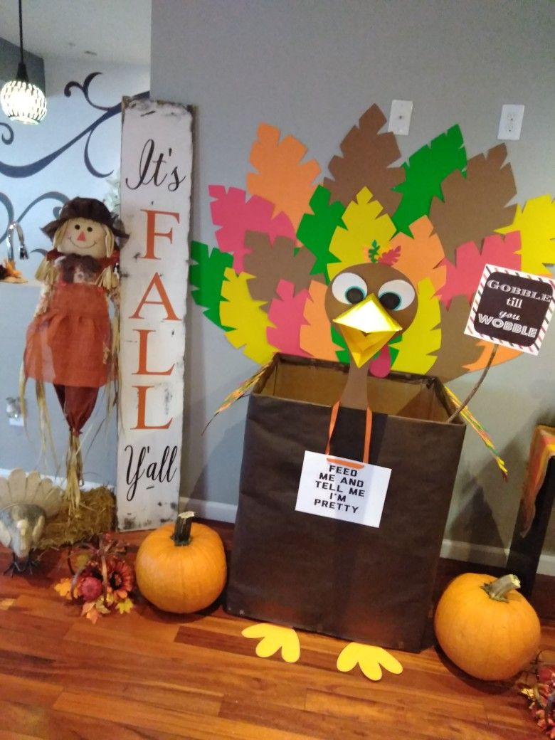 "Super cute Turkey ""BiG Bertha"" 😂 food Drive Box I made"