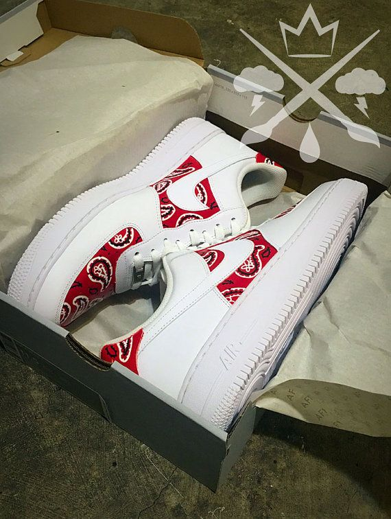 newest collection 8b0da 8996c Nike Air Force One 1 Low Custom Red Bandana Mens White