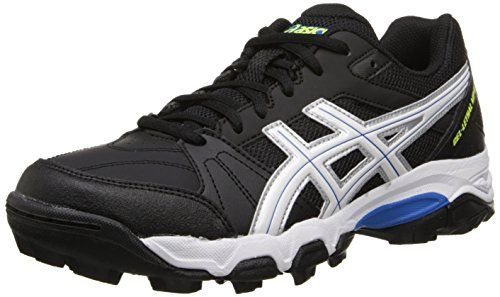 Womens Asics Gel Lethal MP 6 Sport Black White Blue Lace Up Hockey Mens Trainers
