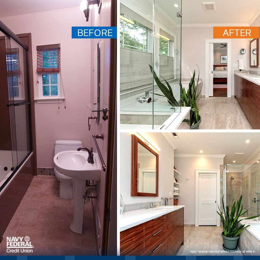 Turn A Dark Cramped Bathroom Into A Bright Open Sanctuary With A Home Equity Loan From Navy Fe Diy Bathroom Remodel New Bathroom Ideas Sophisticated Bathroom
