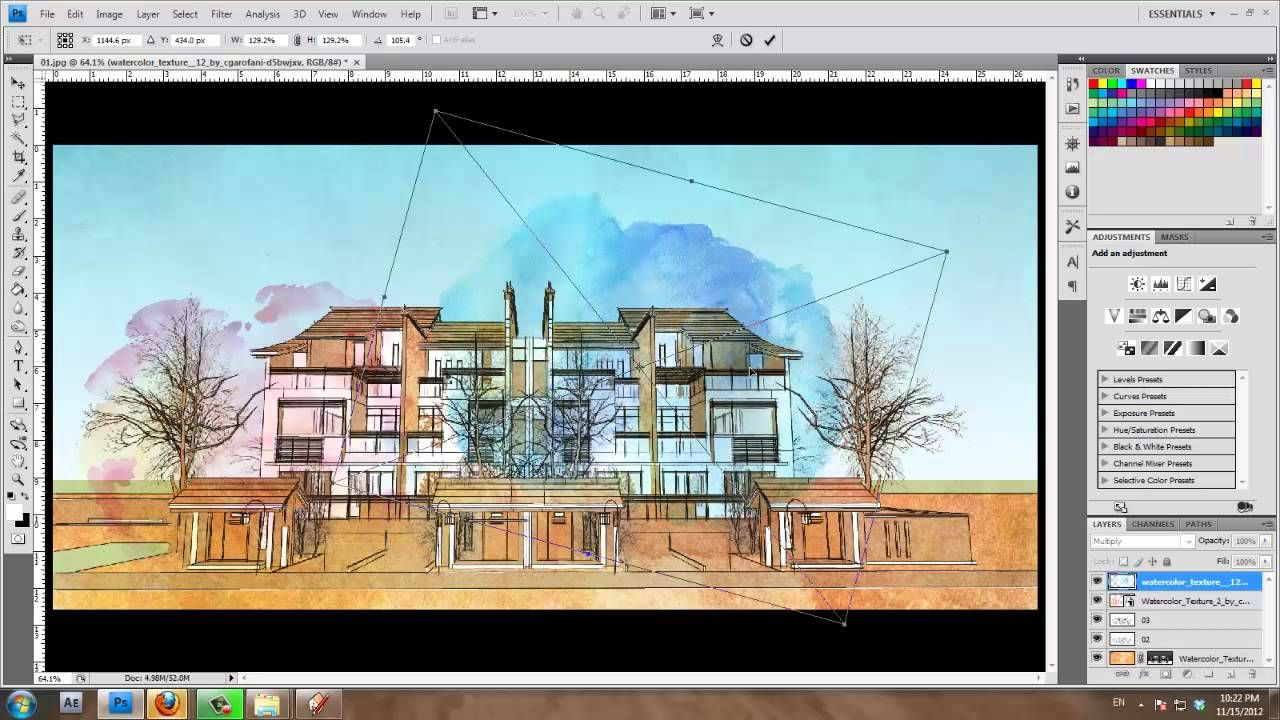 Sketchup And Photoshop Tutorial Water Color Style By Design