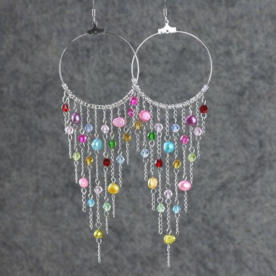 This chandelier hoop earrings are handmade using fresh water pearls this chandelier hoop earrings are handmade using fresh water pearls and crystal glass customers who aloadofball Choice Image