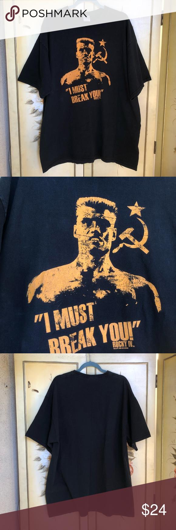 Rocky 4 Ivan Drago MUST BREAK Black T-Shirt 2X Rocky 4