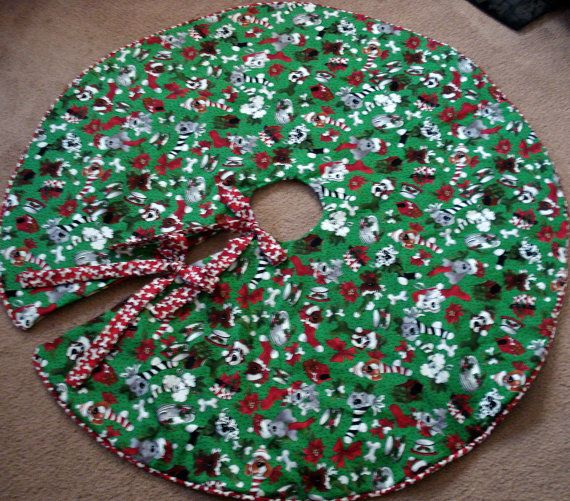 Dog Christmas Tree Skirt with Red Dog Bone by FallintoChristmas