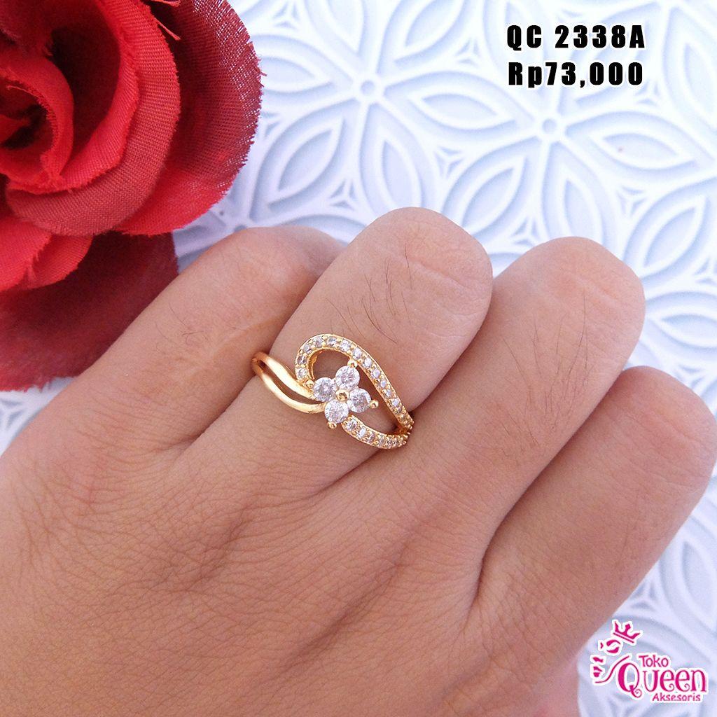 Cincin emas permata zircon bunga simple Pemesanan hubungi : CALL/SMS ...