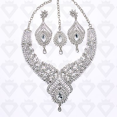 DIAMANTE BRIDAL SILVER GOLD NECKLACE EARRING CHANDELIER TIKKA HEAD PIECE SET UK in Jewellery & Watches, Costume Jewellery, Sets | eBay