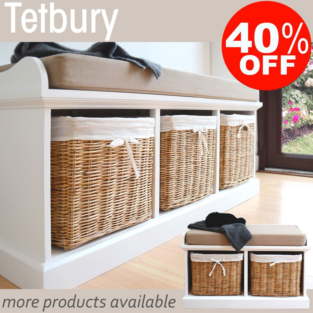 Tetbury Hallway Storage Bench With Cushion, QUALITY White Bench, Wicker  Baskets