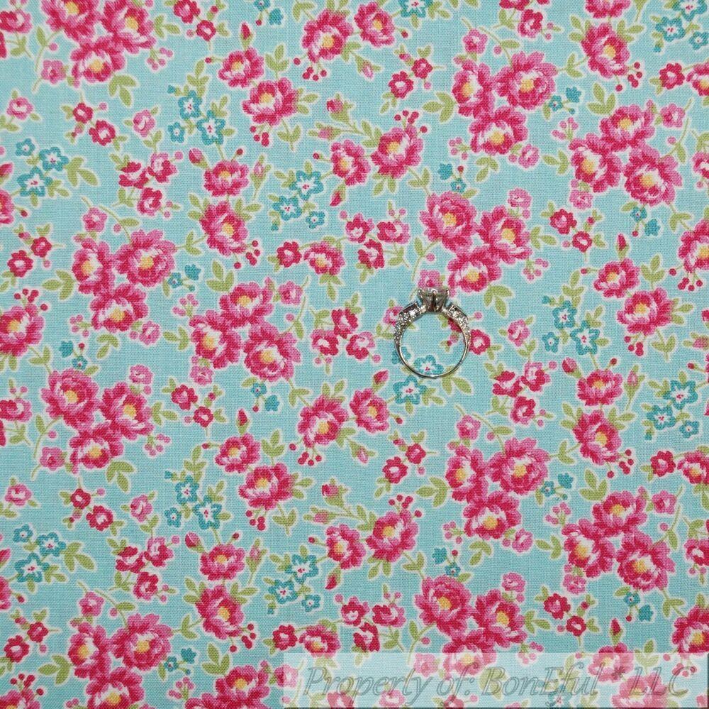 BonEful Fabric FQ Cotton Quilt VTG Orange Peach Brown Flower Stripe Small Dot NR