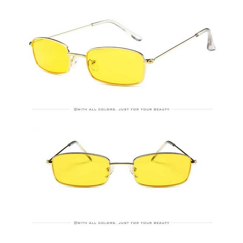 fea9ab880c389 Sunglasses Men Small Square Red Yellow Tinted Glasses Vintage Metal Frame  Sun glasses for Women Brand Designer Flat Top Shades
