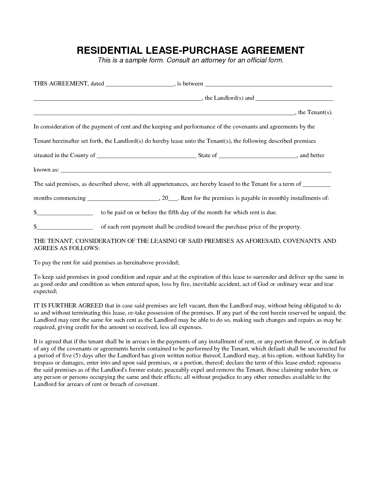 Lease To Own Contract Template legal agreement contract – Rent to Own House Contract