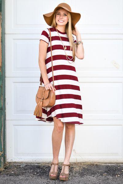 86b8e682d2c Burgundy Stripe High Neck Trapeze Dress - My Sisters Closet