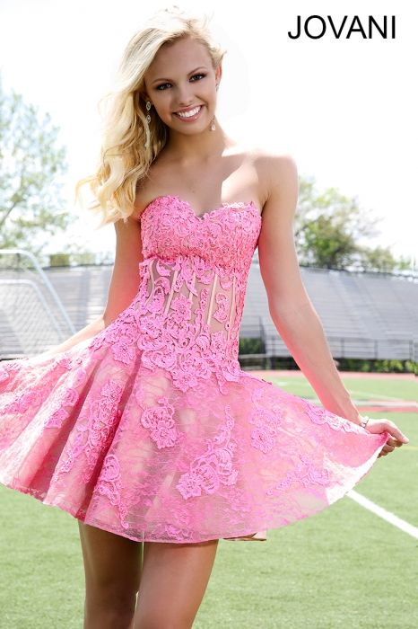 87c2a0c060f Pink Fit and Flare Lace Short Dress- strapless lace dress with a sweetheart  neckline and a sheer corset bodice featuring a full tulle bottom