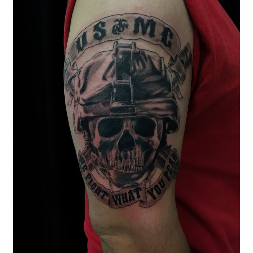 Usmc military tattoo on half sleeve by carlos macedo for Usmc sleeve tattoo ideas