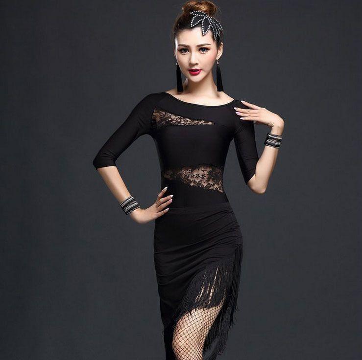 Womens New Lace Fringe Latin Salsa Ballroom Dance Competition Tops Skirt Costume