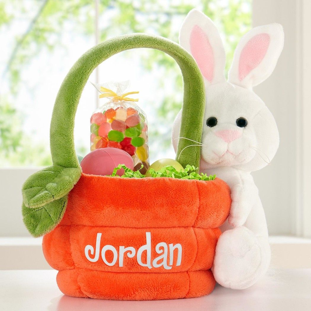 Personalized Plush Carrot With Bunny Easter Basketpersonalized With Any Name Up To