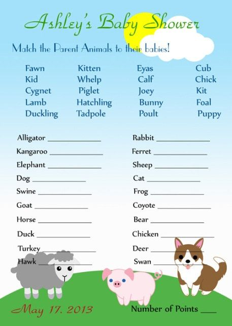 Farm Baby Shower Games Printable No 057 By