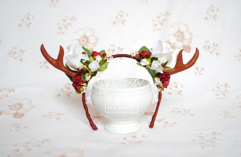 Kawaii Antler Headband Lolita Red White Flower Crown Roses