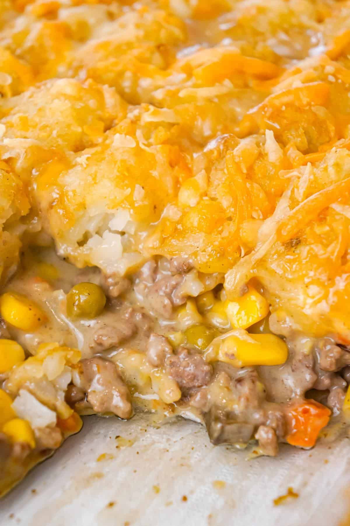 Tater Tot Hotdish Is An Easy Ground Beef Casserole Recipe Loaded With Canned Veggies In 2020 Beef Casserole Recipes Tater Tot Casserole Ground Beef Casserole Recipes