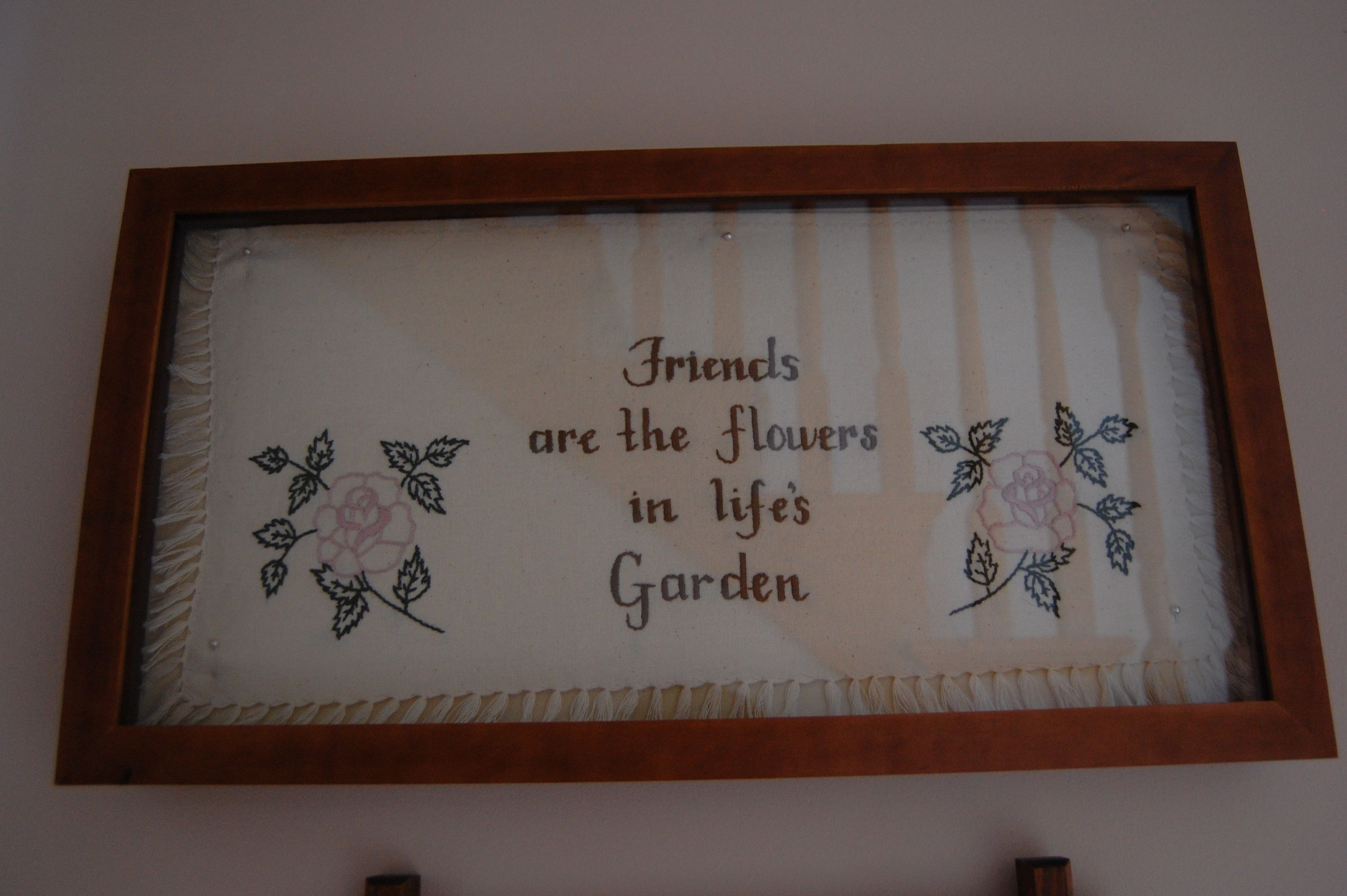 My good friend and neighbor, LaVerda, Amish wife and mother in her 30's, hand embroidered this lovely gift for me.