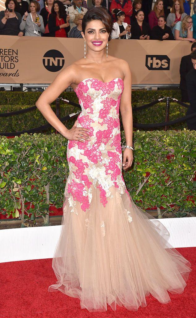 Glisten and Glow from Priyanka Chopra's Best Looks   Award show dresses, Lace pink dress, Priyanka chopra dress