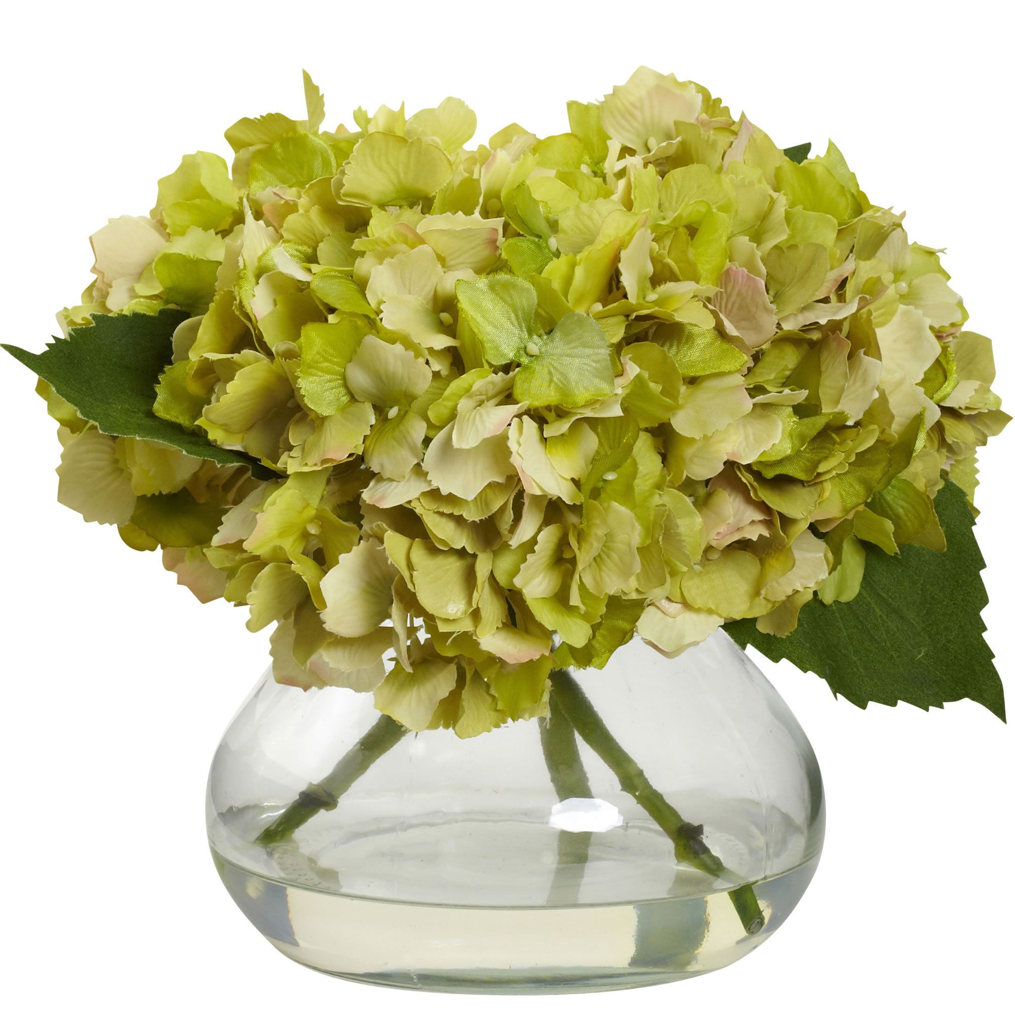 Nearly Natural Blooming Hydrangea With Vase Blue Hydrangea