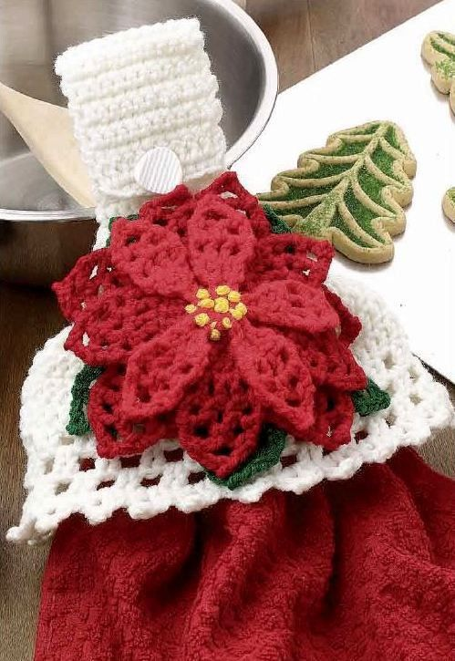 X135 Crochet PATTERN ONLY Christmas Poinsettia Towel Topper Pattern ...