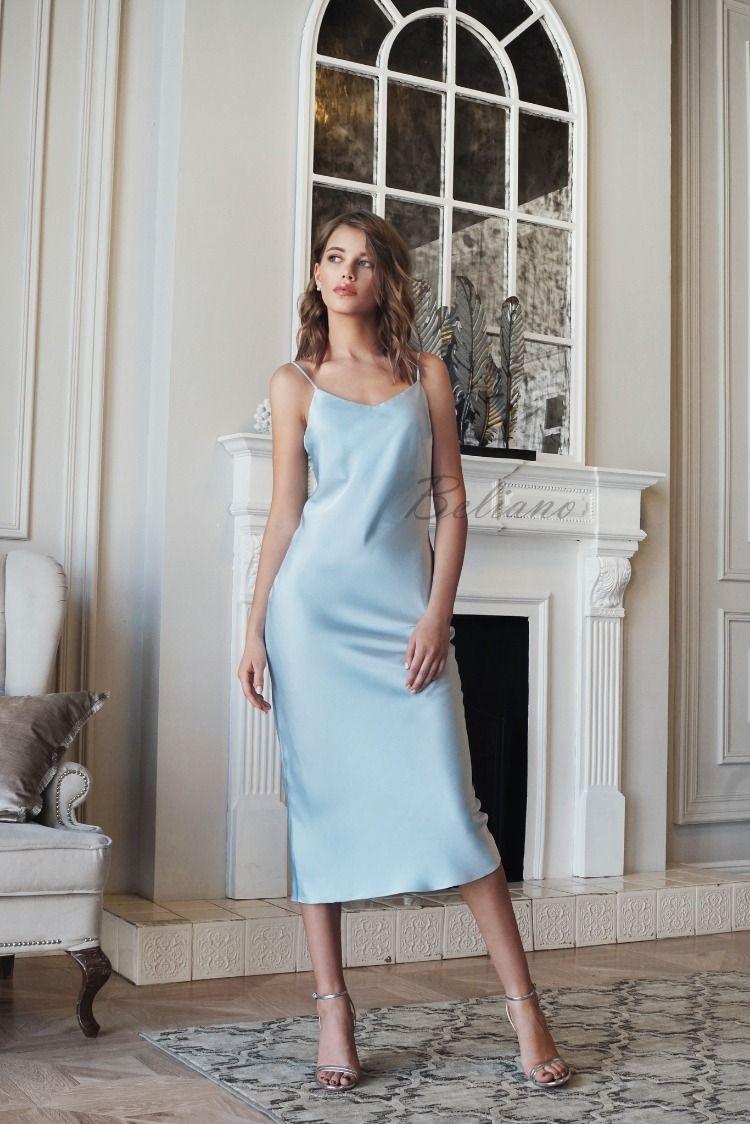 Midi Silk Slip Dress 90s Blue Beliano Silk Slip Dress Silk Prom Dress Slip Bridesmaids Dresses