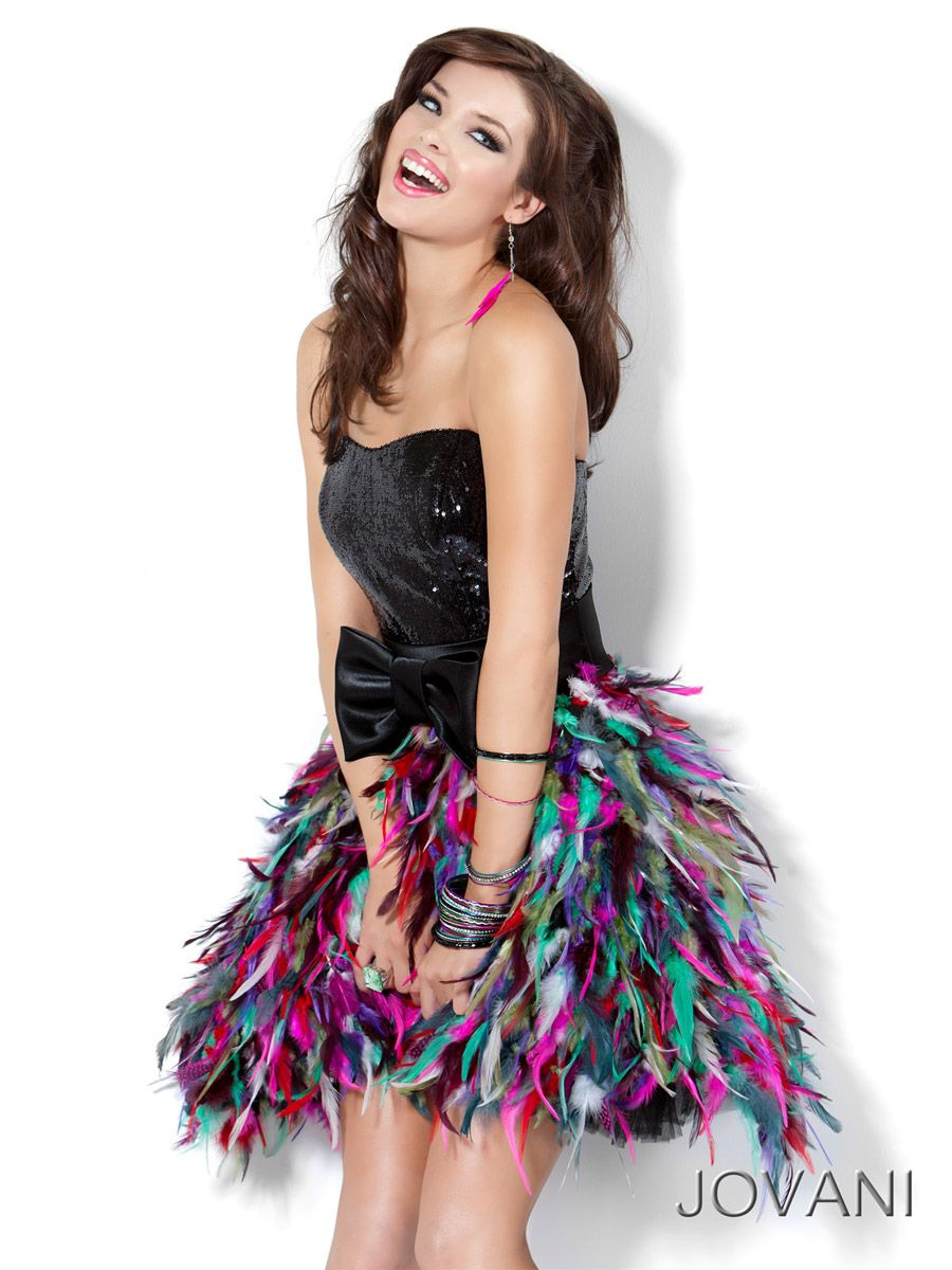 Jovani sequin short prom dress with multicolor feather skirt