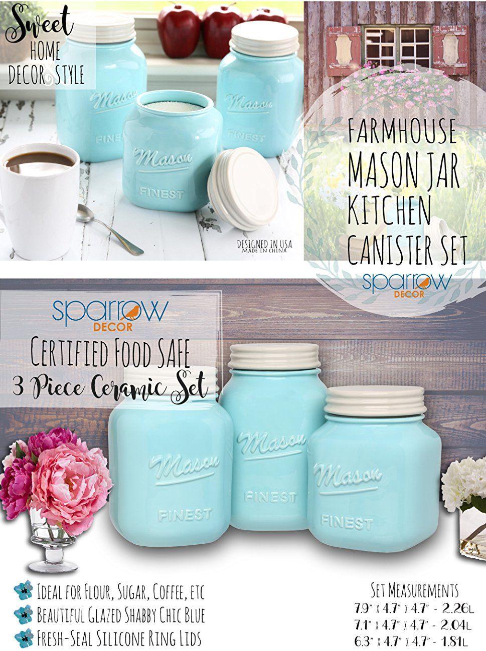 Amazon.com: Mason Jar Kitchen Canister Set - Set of 3 Kitchen ...